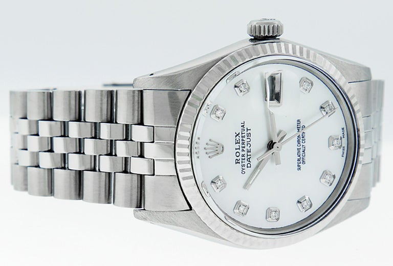 Rolex Men's Datejust Watch S/Steel & White Gold Mother of Pearl Diamond Dial For Sale 3