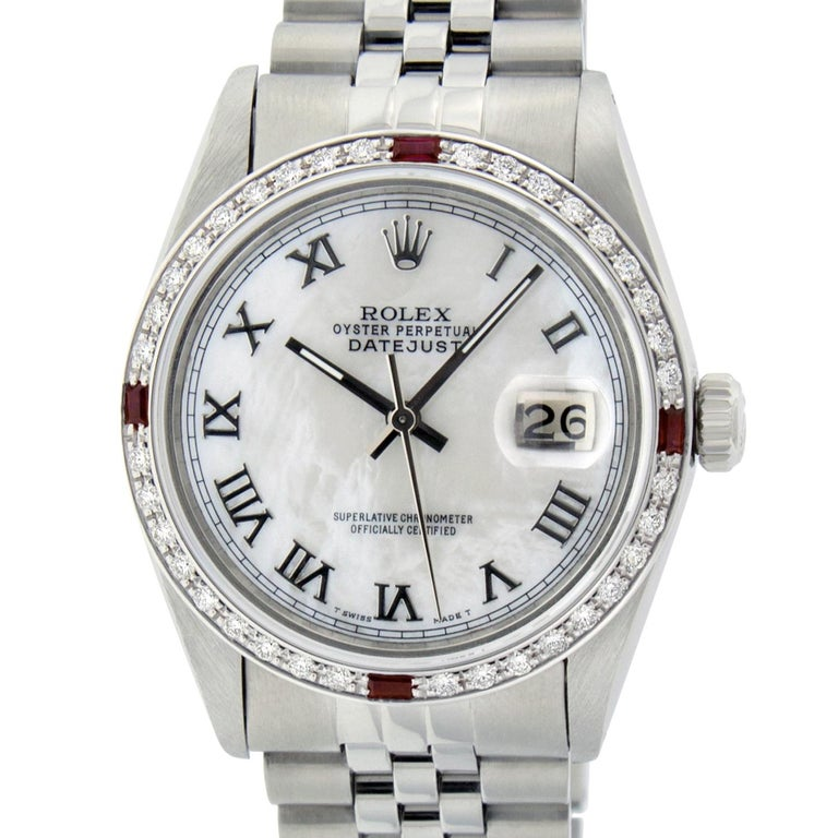WATCH DESCRIPTION   BRAND : Rolex MODEL : Datejust CASE SIZE : 36mm GENDER : Men's CASE : Rolex Stainless Steel Case  WATCH FEATURES   DIAL : Rolex Professionally Refinished White Mother of Pearl Dial set with aftermarket Roman Hour Markers BEZEL :