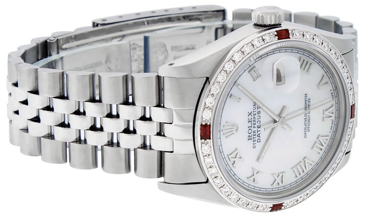 Round Cut Rolex Men's Datejust Watch SS & 18K White Gold MOP Roman Dial Diamond Bezel For Sale