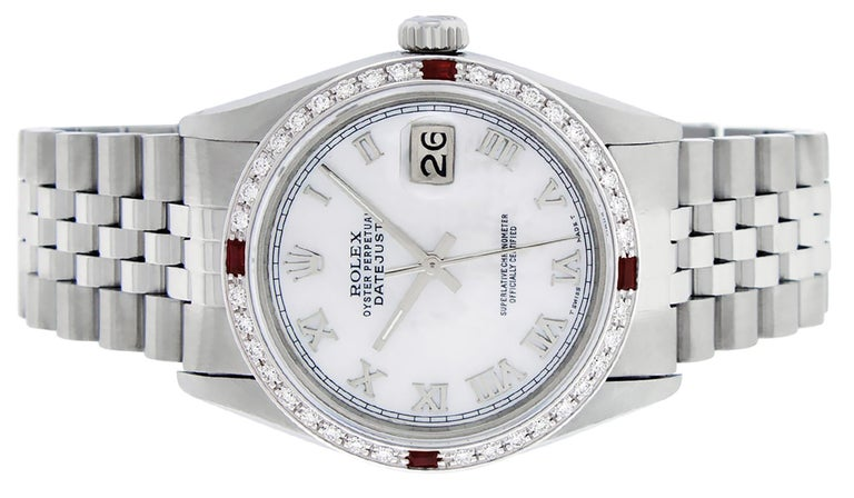 Rolex Men's Datejust Watch SS & 18K White Gold MOP Roman Dial Diamond Bezel In Good Condition For Sale In Los Angeles, CA