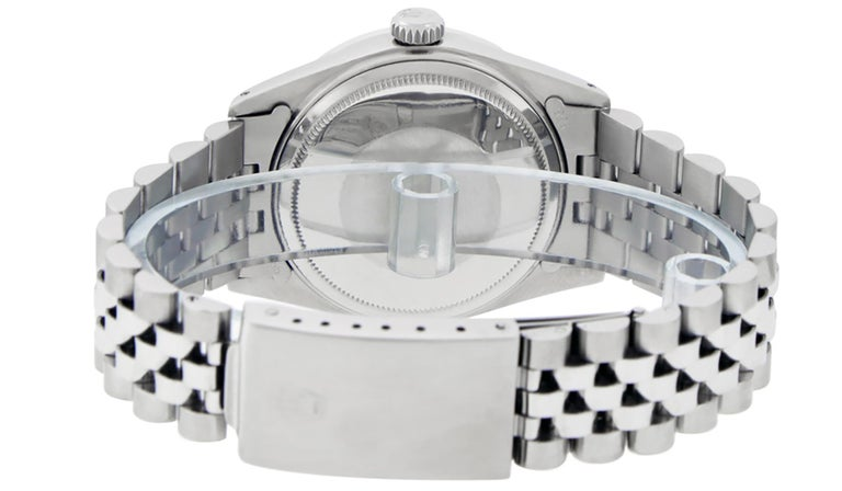 Rolex Men's Datejust Watch SS & 18K White Gold MOP Roman Dial Diamond Bezel For Sale 1