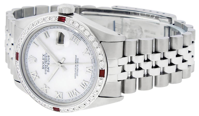 Rolex Men's Datejust Watch SS & 18K White Gold MOP Roman Dial Diamond Bezel For Sale 3
