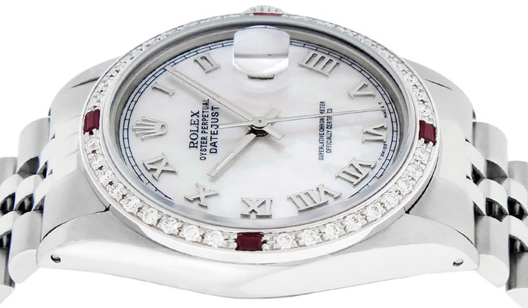 Rolex Men's Datejust Watch SS & 18K White Gold MOP Roman Dial Diamond Bezel For Sale 4