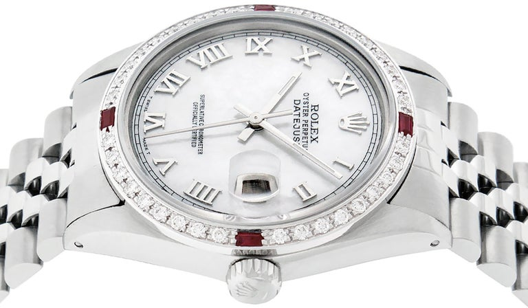 Rolex Men's Datejust Watch SS & 18K White Gold MOP Roman Dial Diamond Bezel For Sale 5