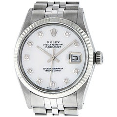 Rolex Men's Datejust Watch S/Steel & White Gold Mother of Pearl Diamond Dial