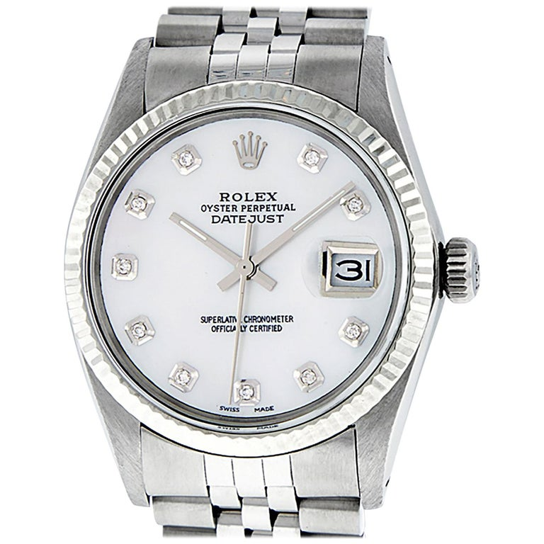 Rolex Men's Datejust Watch S/Steel & White Gold Mother of Pearl Diamond Dial For Sale
