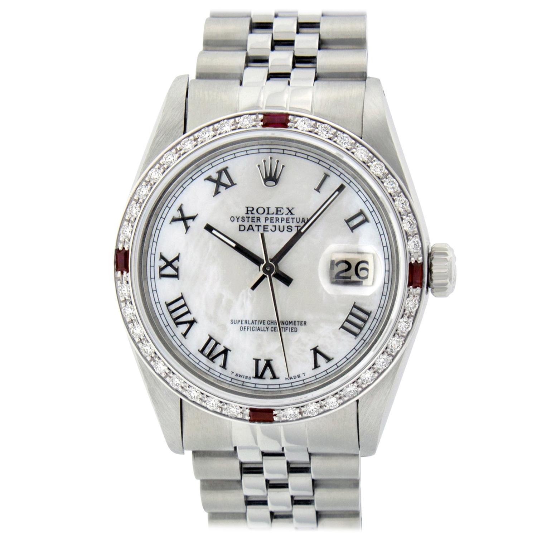 Rolex Men's Datejust Watch SS & 18K White Gold MOP Roman Dial Diamond Bezel