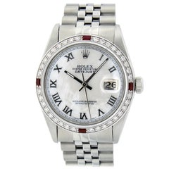 Rolex Men's Datejust Watch SS & 18K White Gold MOP Roman Dial Diamond Bezel
