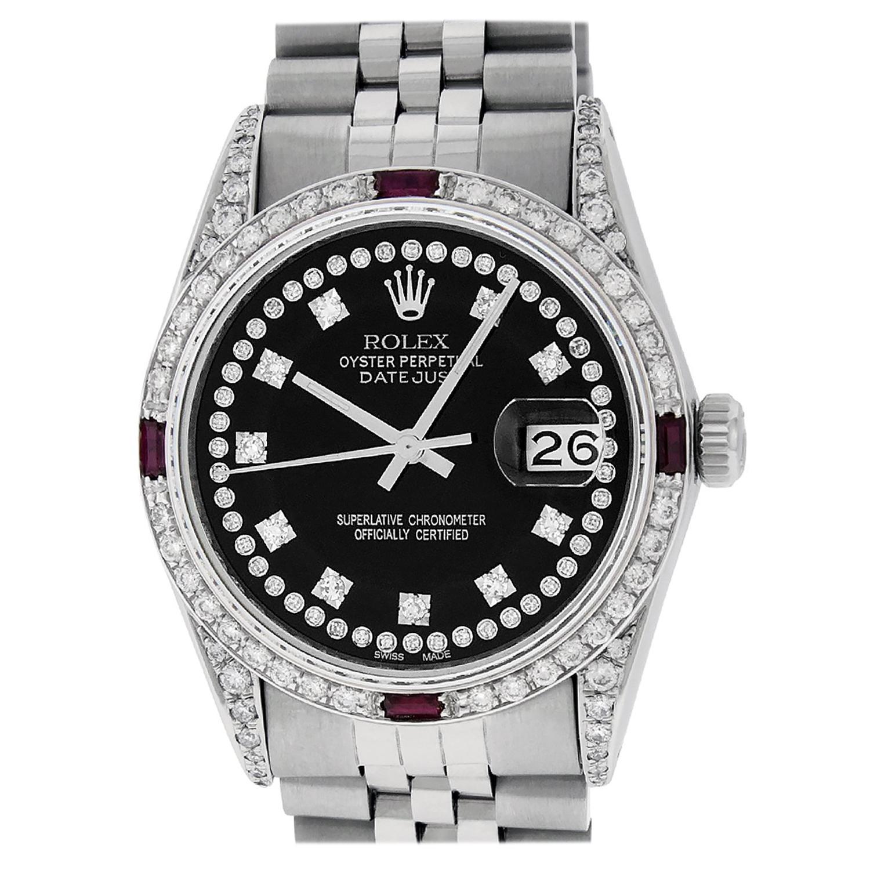 Rolex Men's Datejust Watch Steel / 18 Karat White Gold Black Diamond Dial Ruby