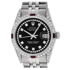 Rolex Men's Datejust Watch Steel / 18 Karat White Gold Black Diamond Dial Ruby