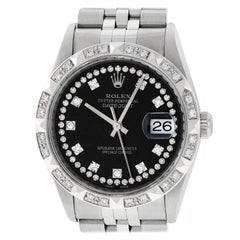 Rolex Men's Datejust Watch Steel / 18 Karat White Gold Black String Diamond Dial