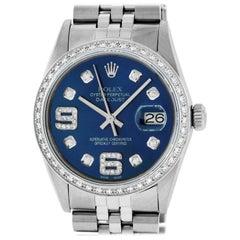 Rolex Men's Datejust Watch Steel / 18 Karat White Gold Blue 6 and 9 Diamond Dial