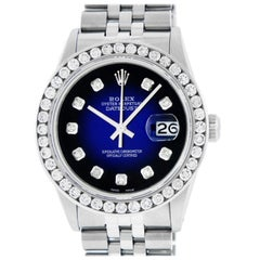 Rolex Men's Datejust Watch Steel /18 Karat White Gold Blue Vignette Diamond Dial