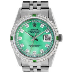 Rolex Men's Datejust Watch Steel / 18 Karat White Gold Green MOP Diamond Dial