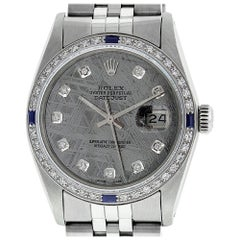 Rolex Men's Datejust Watch Steel / 18 Karat White Gold Meteorite Diamond Dial