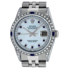 Rolex Mens Datejust Watch Steel / 18 Karat White Gold MOP Diamond Dial Sapphire
