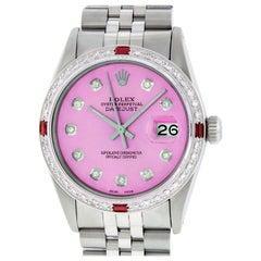 Rolex Men's Datejust Watch Steel / 18 Karat White Gold Pink Diamond Dial Ruby