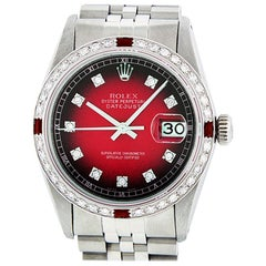 Rolex Men's Datejust Watch Steel / 18 Karat White Gold Red Vignette Diamond Dial