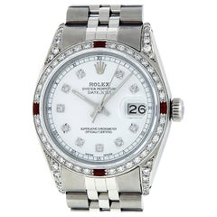 Rolex Men's Datejust Watch Steel / 18 Karat White Gold White Diamond Dial Ruby
