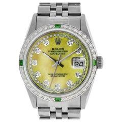 Rolex Men's Datejust Watch Steel / 18 Karat White Gold Yellow MOP Diamond Dial