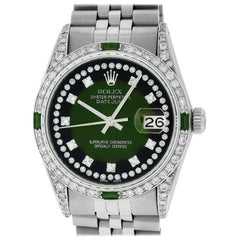 Rolex Men's Datejust Watch Steel / 18 White Gold Green Vignette Diamond Dial