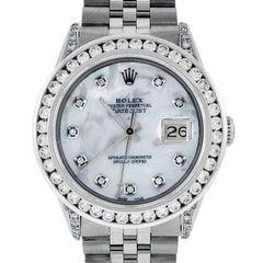 Rolex Men's Datejust Watch Steel / 18K White Gold MOP Diamond Dial 3.50 Carat