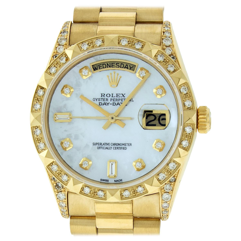 Rolex Men's Day-Date President Watch 18038 18K Yellow Gold MOP Diamond Dial