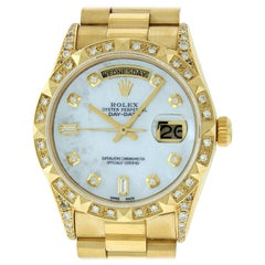 Rolex Men's Day-Date President Watch 18038 18K Yellow Gold MOP Diamond Dial