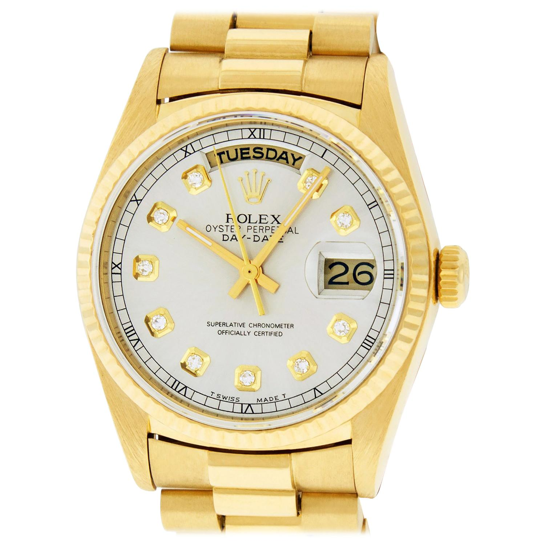 Rolex Men's Day-Date President Watch 18038 18K Yellow Gold Silver Diamond Dial