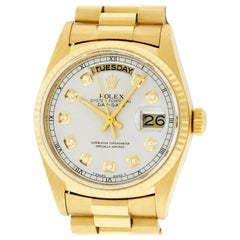 Rolex Men's Day-Date President Watch 18038 18K Yellow Gold Silver Diamond Dial