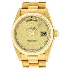 Rolex Men's Day-Date President Watch 18238 18 Karat Gold Champagne Index Dial