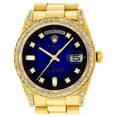 Rolex Men's Day-Date President Watch 18 Karat Gold Blue Vignette Diamond Dial