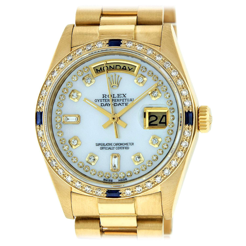 Rolex Men's Day-Date President Watch 18 Karat Gold MOP String Diamond Dial