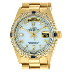 Rolex Men's Day-Date President Watch 18 Karat Gold MOP String Diamond Dial