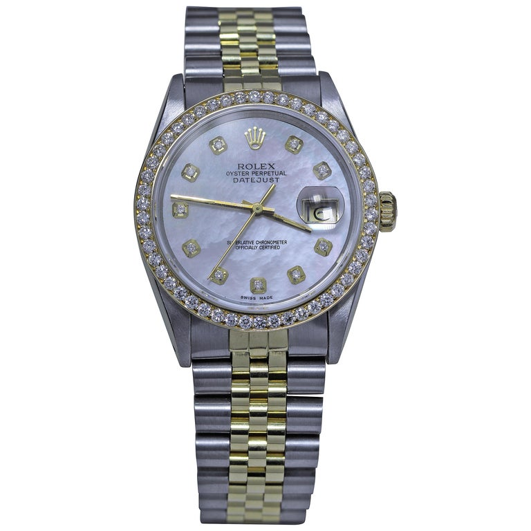 Rolex Men S Diamond Studded Oyster Perpetual Datejust Watch