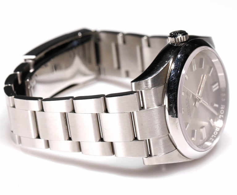 Rolex Men's Oyster Perpetual Stainless Steel Automatic Grey Stick Dial Watch In Excellent Condition For Sale In New York, NY