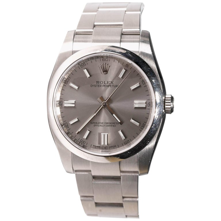 Rolex Men's Oyster Perpetual Stainless Steel Automatic Grey Stick Dial Watch For Sale
