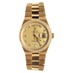 Rolex Men's Oysterquartz Yellow Gold Diamond Bezel Dial