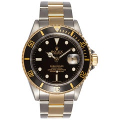 Rolex Mens Submariner Two Tone 18k & Stainless Steel Watch 16613 2007 Engraved