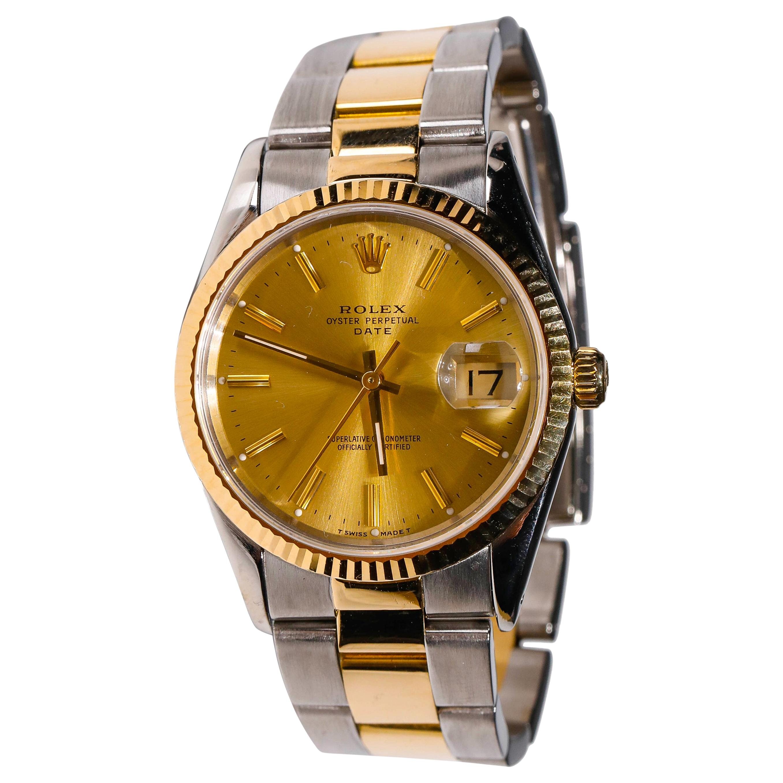 Rolex Men's Twotone Oyster Perpetual Stainless Steel Automatic Golden Dial Watch