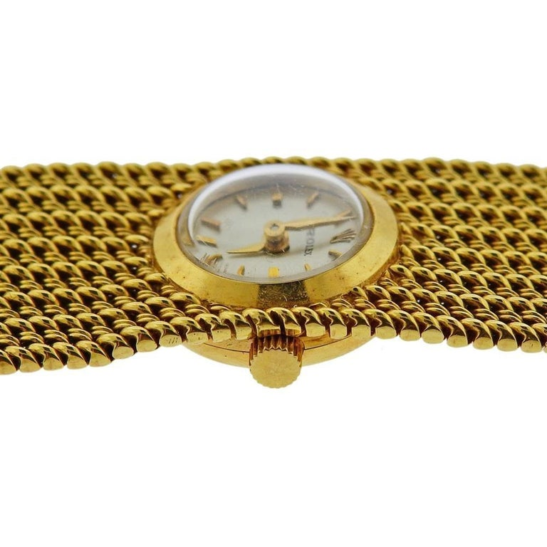 Rolex Midcentury Gold Ladies Watch Bracelet In Excellent Condition For Sale In New York, NY