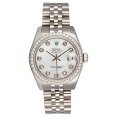 Rolex Mid-Size Datejust Stainless Steel 178240 MOP Dial Diamond Bezel