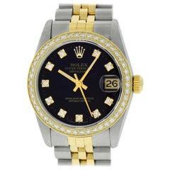 Rolex Mid-Size Datejust Watch 68273 Steel or 18 Karat Gold Black Diamond Dial