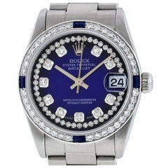 Rolex Mid-Size Datejust Watch Steel / 14K White Gold Blue Vignette Diamond Dial