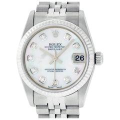Rolex Mid-Size Datejust Watch Steel / 18 Karat White Gold MOP Diamond Dial