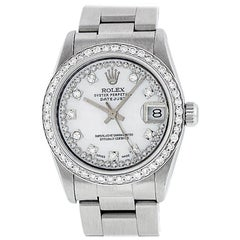 Rolex Mid-Size Datejust Watch Steel or 14 Karat Gold MOP String Diamond Dial
