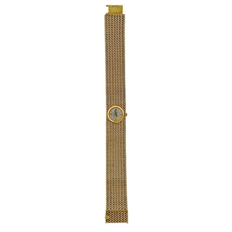 Rolex Midcentury Gold Ladies Watch Bracelet For Sale