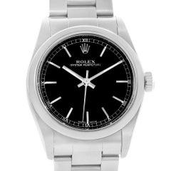 Rolex Midsize 31 Black Baton Dial Steel Ladies Watch 77080