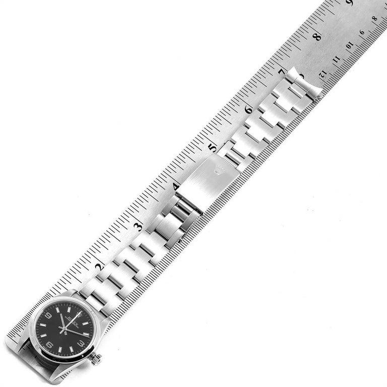 Rolex Midsize 31 Black Dial Domed Bezel Steel Ladies Watch 77080 For Sale 6