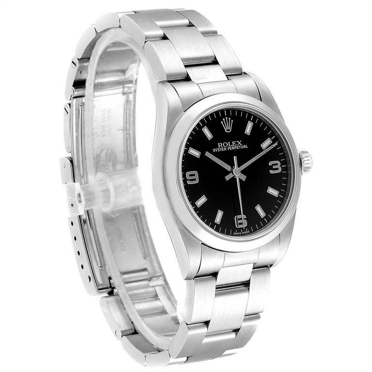 Rolex Midsize 31 Black Dial Domed Bezel Steel Ladies Watch 77080 In Excellent Condition For Sale In Atlanta, GA